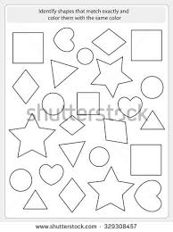 worksheet color similar shapes worksheet preschool stock vector