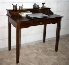 Schreibtisch Massiv Sekretär 100x91x57cm 1 2 Schubladen Pappel Massiv Nussbaumfarben