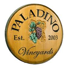 personalized reclaimed wine barrel head lazy susan with vineyards