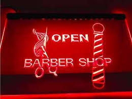 Open Light Up Sign Open Barber Shop Pole Scissor Scissors Salon Haircut Led Neon