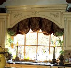 Elegant Window Treatments by Elegant Kitchen Window Decorated With Large Cornice And Brown