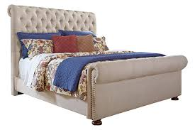 Tufted Sleigh Bed King Windville Upholstered Sleigh Bed Furniture Homestore