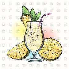 cocktail vector pina colada tropical pineapple and coconut cocktail vector