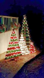 alternatives to outdoor christmas lights a bunch of scrap wood pieces painted in green and red are more than
