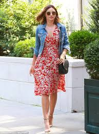 miranda kerr is effortlessly gorgeous in floral dress daily mail