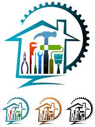 logo chambre logo de rénovation de chambre illustration de vecteur