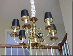Chandelier With Black Shades Diy Brass Chandelier Makeover In My Own Style