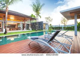 design pool luxury interior design pool villa livingroom stock photo 660324757