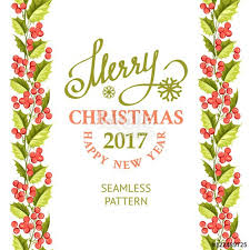 merry christmas card with line border of misletoe wreath happy