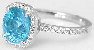 zircon engagement rings cushion cut blue zircon ring in 14k white gold gr 1135