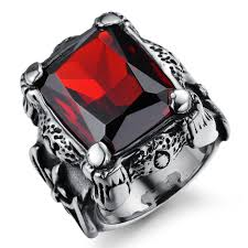 com red rings images Punk real stainless steel ruby ring men 39 s 13kt big red stones jpg