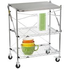 Kitchen Cart Table by Intermetro Folding Chef U0027s Cart The Container Store
