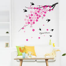 compare prices on wall decor birds online shopping buy low price cute birds plum flower wall decor sticker living room bedroom flying petal adhesive diy wall poster
