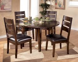 dark wood round expandable dining table set ideas 5 pieces small