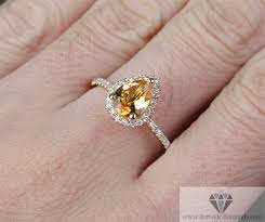 citrine engagement rings yellow gold citrine pear shape diamond pave engagement cocktail