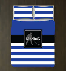 Blue White And Black Flag Custom Ice Hockey Striped Bedding Set For Boys Rooms U2013 Shop