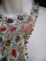 crystals fashion necklace images Silver metal crystals multi color peacock feathers statement long jpg