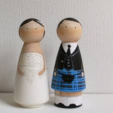 super cute custom wedding cake toppers scottish peg doll with