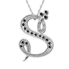 black diamond necklace images 14k white gold alphabet initial letter s black diamond jpg
