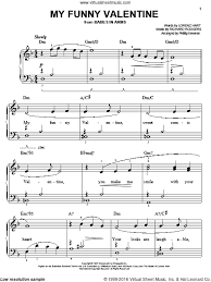 hart my funny valentine sheet music for piano solo