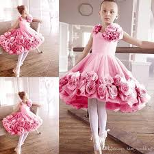 light pink flower dresses sweety little girls ballet dress with 3d floral appliques kids