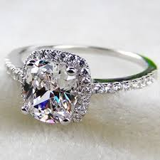 simulated engagement ring luxury 2 carat cushion cut simulated engagement rings for