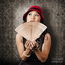 Asian Wall Fans by Chinese Fanning Herself With Asian Hand Fan Photograph By
