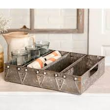 modern kitchen utensil holder farmhouse primitive silverware flatware utensil tray gray country