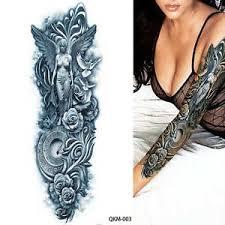 tribal roses dove black arm temporary sleeve