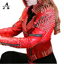 red leather jacket women punk rivets studded motorcycle leather