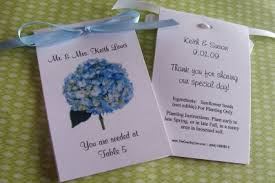 seed packet wedding favors blue hydrangea custom place cards seating chart table number