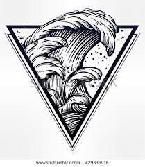 hand drawn water waves sea line imagem vetorial de banco 429336916