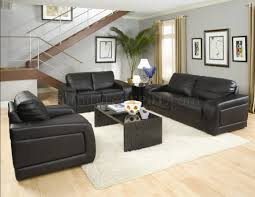 black bonded leather modern living room w oversized padded arms