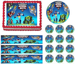 transformer rescue bots party supplies transformers rescue bots edible cake topper image frosting sheet