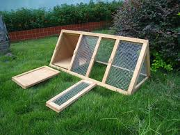 Large Bunny Cage Wooden Outdoor Triangle Rabbit Hutch And Run Guinea Pig Ferret