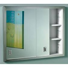 Medicine Cabinet With Electrical Outlet Amazon Com 701l Series Sliding Medicine Cabinet 2 Light With