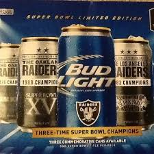 bud light party box super bowl xxxvii pepsi cola party can 2003 raiders vs