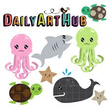 cute deep sea creatures clip art set daily art hub