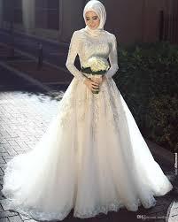 elegant 2016 high neck lace muslim wedding dresses long sleeve