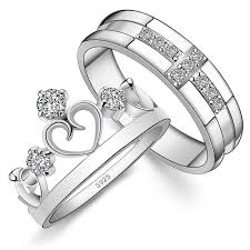 wedding rings cross images 2018 couple rings cross crown style 925 sterling silver with jpg