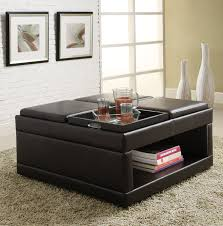 black leather storage ottoman with tray furniture fabric ottoman coffee table large square ottoman