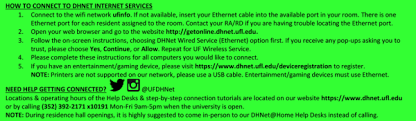 Uf Computing Help Desk Get Connected Before Coming To Campus Dhnet Internet Services