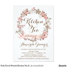 pink floral wreath kitchen tea party invitation kitchen tea