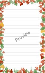 printable stationery set with autumn leaves