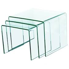 fab glass and mirror piece clear bent nesting tables wayfair piece clear bent glass nesting tables