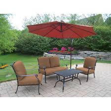 Sunbrella 11 Ft Cantilever Umbrella by Oakland Living 5 Piece Aluminum Patio Dining Set With Sunbrella