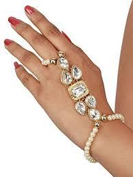 bracelet ring online images Buy saraa kundan moti ring bracelet hathphool hand harness finger jpg