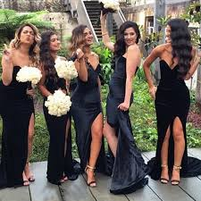 black bridesmaid dresses fashion v neck mermaid black bridesmaid dress with split side