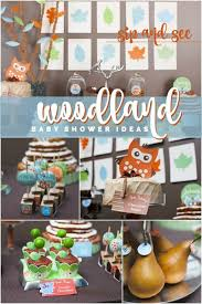 woodland themed baby shower a woodland buddies themed baby shower sip and see spaceships and