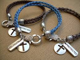 mens charm bracelet images Leather charm bracelet with cross and protected charms cross jpg
